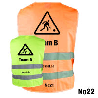 """Warnweste """"Team A und B im Set"""" gelb und orange"""