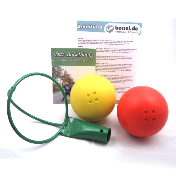 Gummiboßelkugel-Set für Hobbyboßler (2 Kugeln + Kraber)